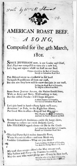 American roast beef, a song, composed for the 4th March, 1801. [7 verses]. [Positive Photostat].