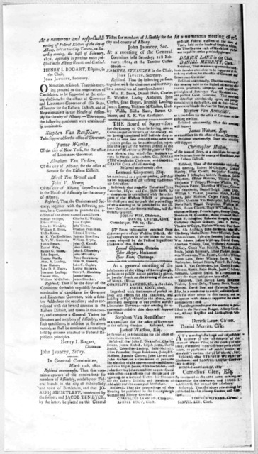 At a numerous and respectable meeting of federal electors of the city of Albany, held at the City tavern, on Saturday evening, the 14th of February, 1801 agreeably to previous notice published in the Albany Gazette and Centinel. [Albany. 1801].