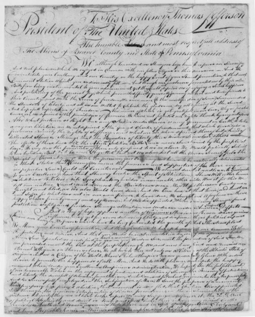 Beaver County, Pennsylvania, Aliens to Thomas Jefferson, March 15, 1801