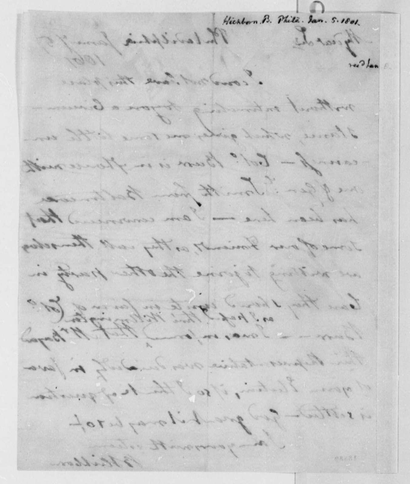 Benjamin Hichborn to Thomas Jefferson, January 5, 1801