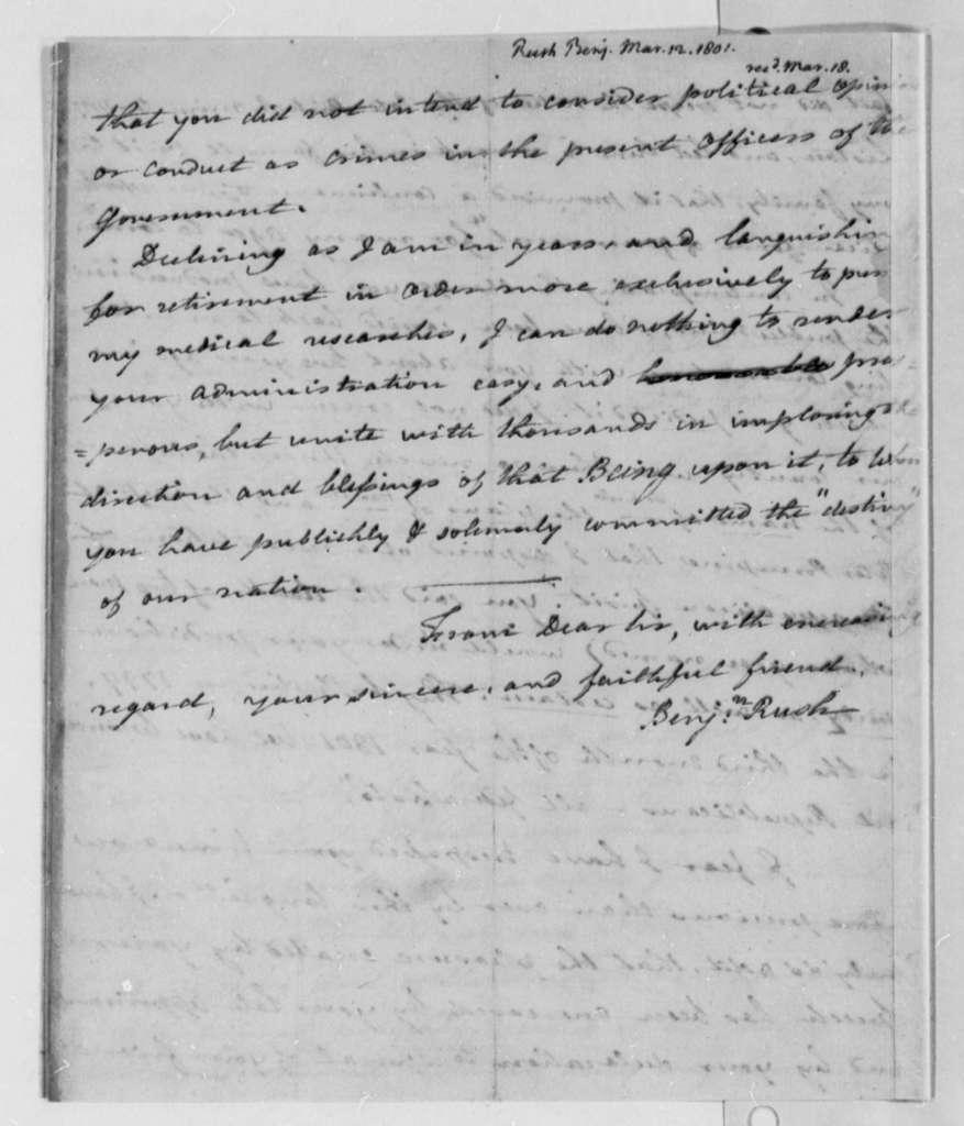 Benjamin Rush to Thomas Jefferson, March 12, 1801