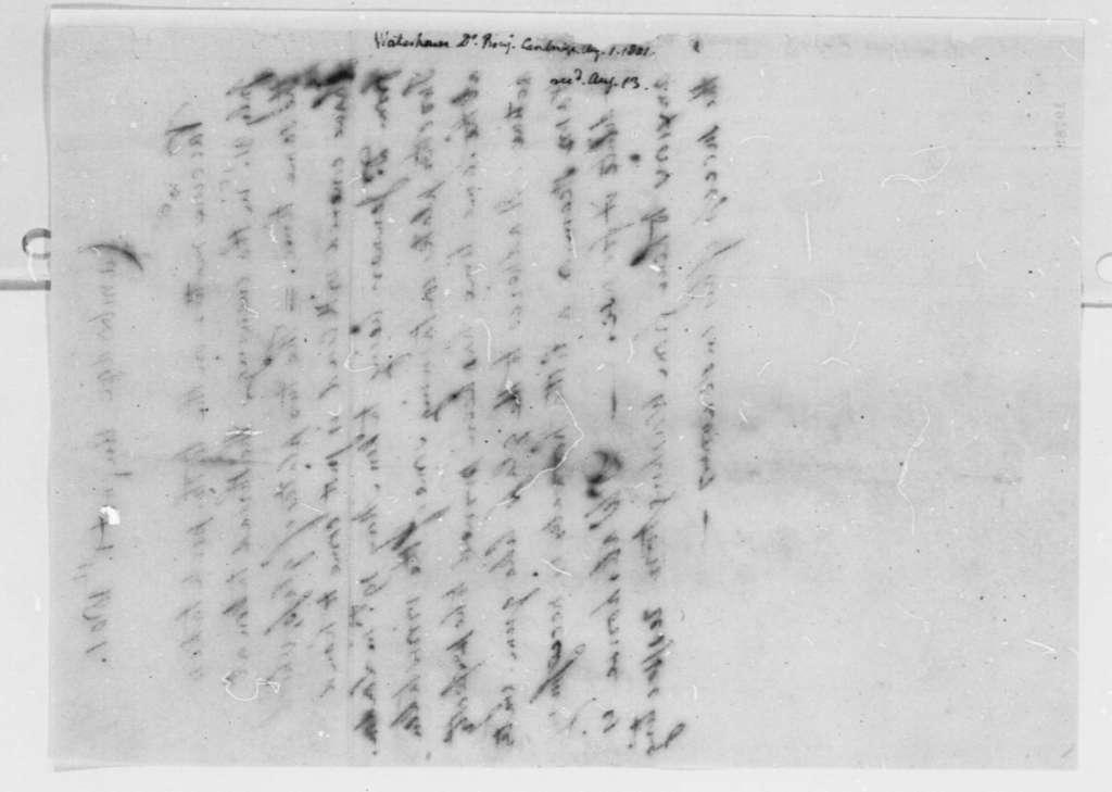 Benjamin Waterhouse to Thomas Jefferson, August 1, 1801