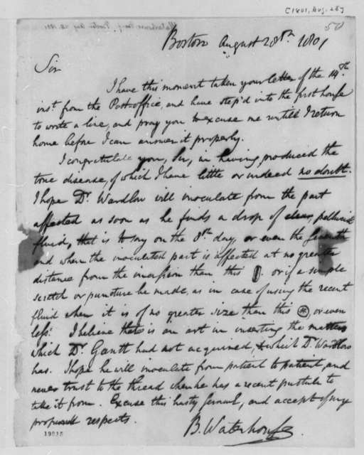 Benjamin Waterhouse to Thomas Jefferson, August 28, 1801