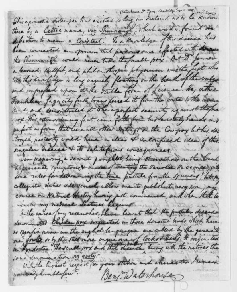 Benjamin Waterhouse to Thomas Jefferson, September 2, 1801