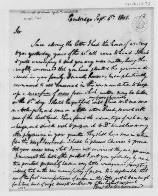 Benjamin Waterhouse to Thomas Jefferson, September 4, 1801
