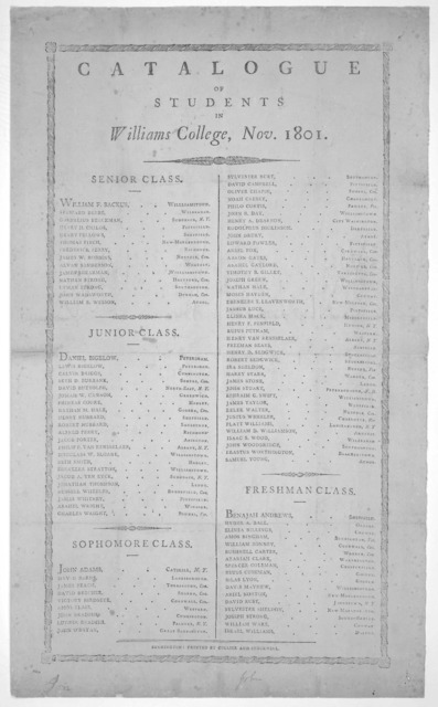 Catalogue of students in Williams College, Nov. 1801 ... Bennington: Printed by Collier and Stockwell [1801].