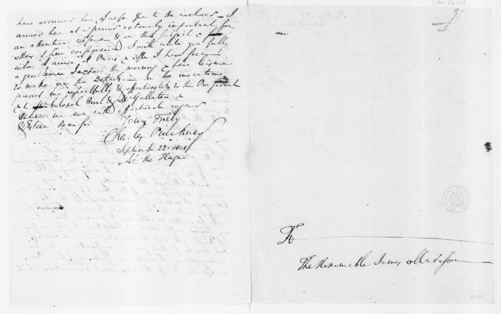 Charles Pinckney to James Madison, September 22, 1801.