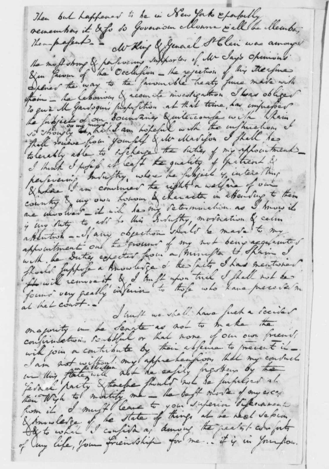 Charles Pinckney to Thomas Jefferson, April 20, 1801