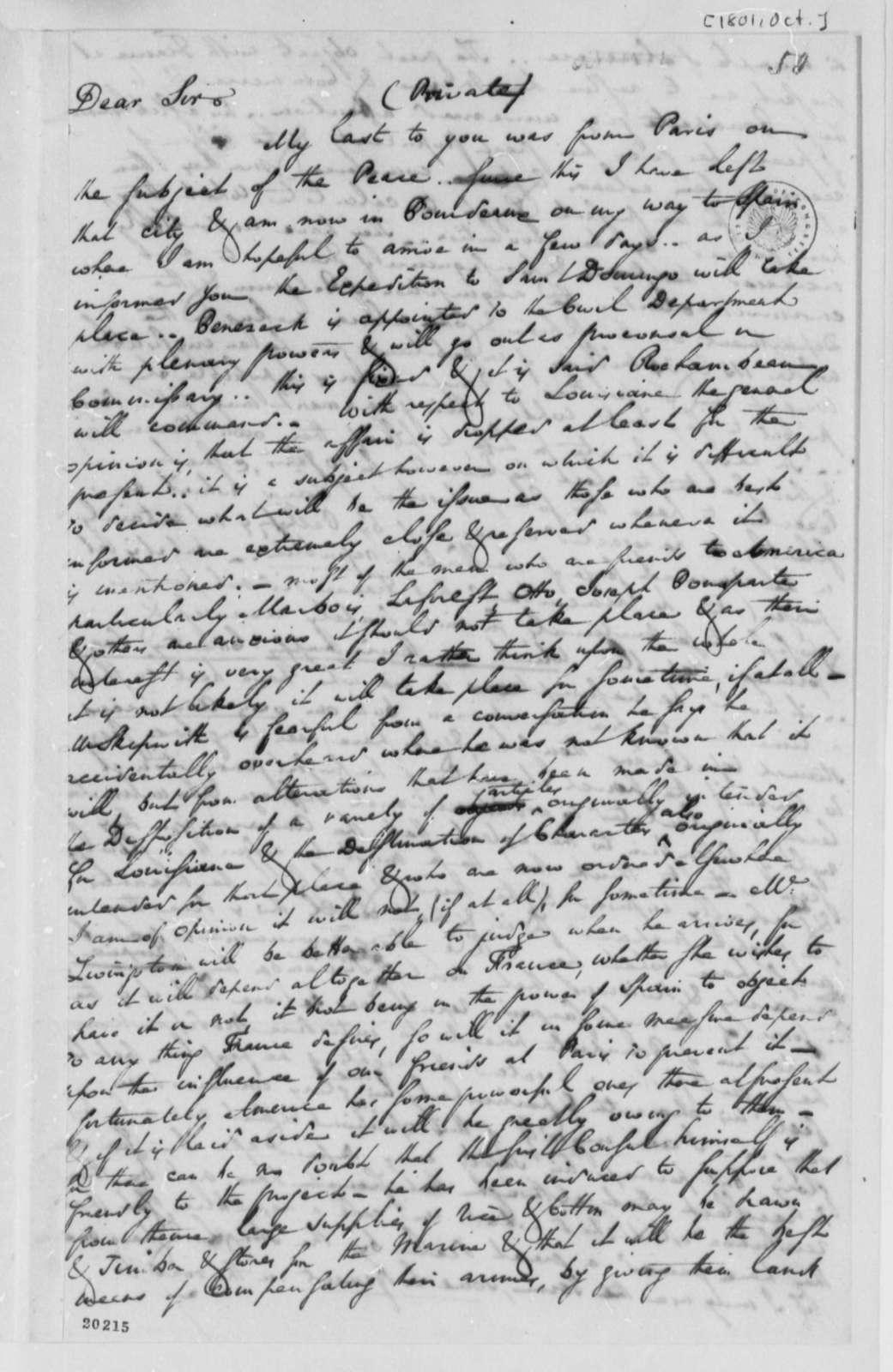 Charles Pinckney to Thomas Jefferson, October 1801