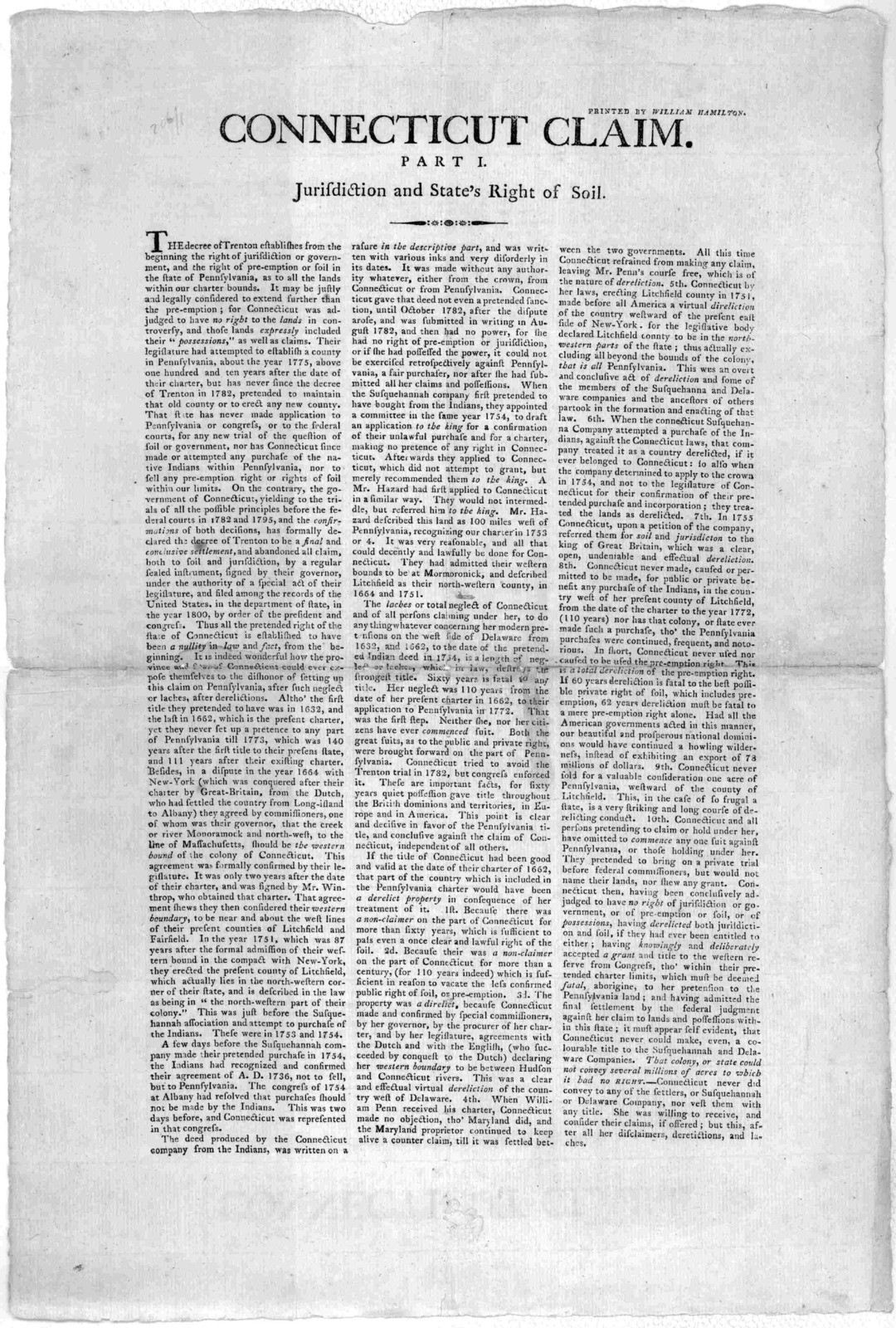Connecticut claim. Part I. Jurisdiction and State's right of soil. [Lancaster, Pa.] Printed by William Hamilton [1801 or 2?].