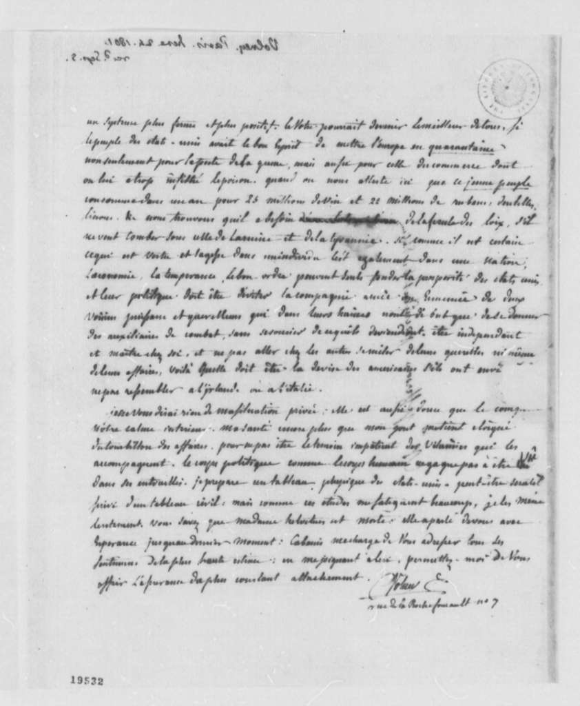 Count de Volney to Thomas Jefferson, June 24, 1801, in French