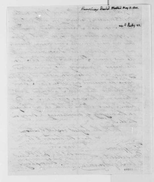 David Humphreys to Thomas Jefferson, May 8, 1801