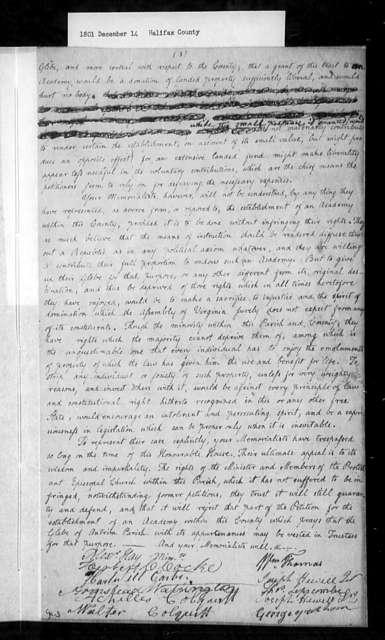 December 14, 1801, Halifax, Minister of Antrim Parish, opposed to sale of glebe lands.