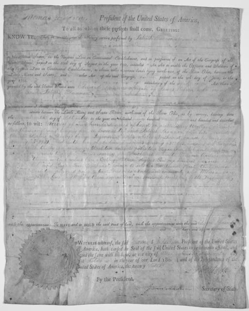 Deed Granting Land to Patrick Shannon for Military Service, 1801
