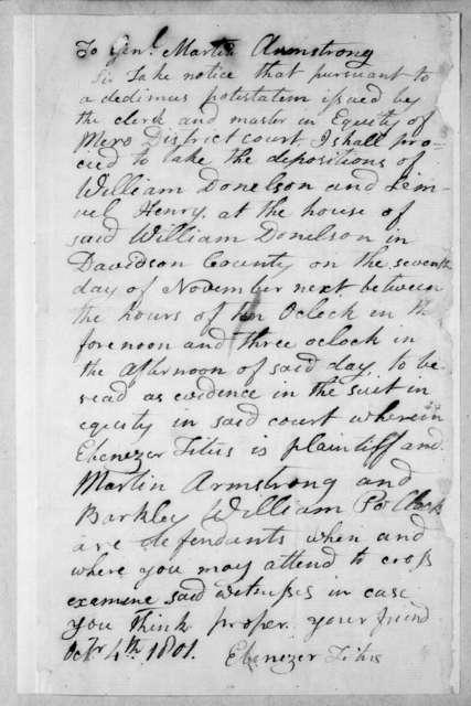 Ebenezer Titus to Martin Armstrong, October 4, 1801