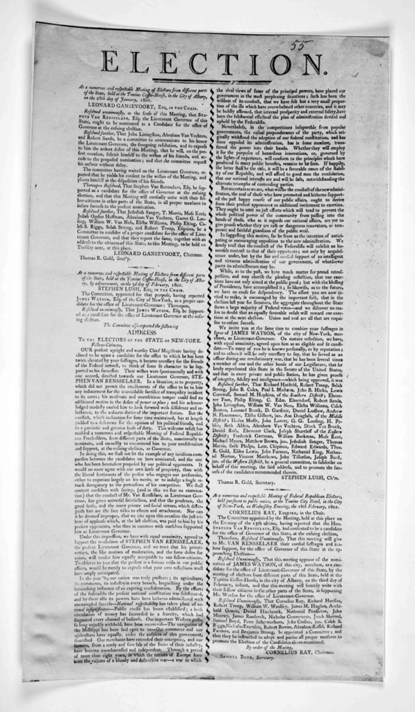 Election. At a numerous and respectable meeting of electors from different parts of the state held at the Tontine coffee-house, in the City of Albany, on the 28th day of January 1801. [Positive Photostat].