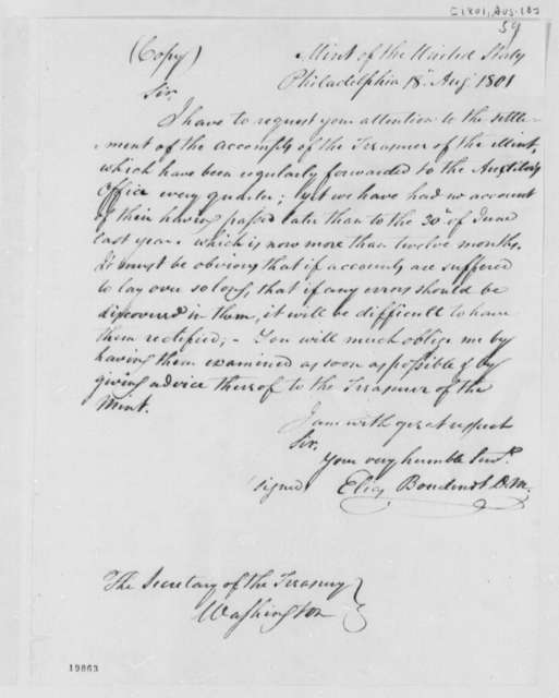 Elias Boudinot to Albert Gallatin, August 18, 1801