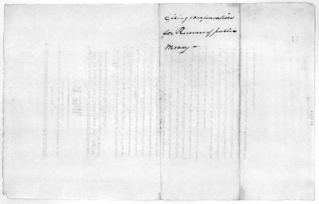 February 26, 1801. Read the first and second time, and committed to a committee of the whole House, to-morrow. A bill, fixing the compensation of receivers of public monies for lands of the United States, and regulating the mode of calculating d