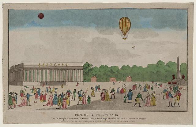 Fête du 14 juillet an IX vue du temple eleve dans le grand carré des Champs Elyseés dans lequel le concert fut exécuté.