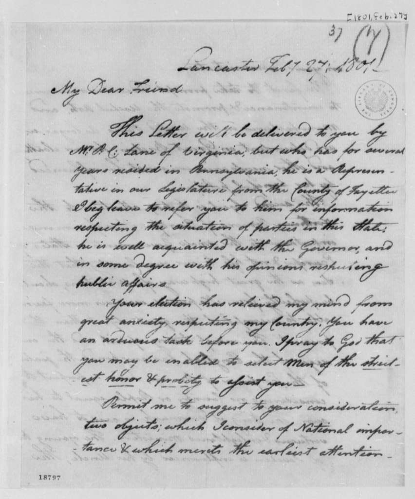 George Logan to Thomas Jefferson, February 27, 1801