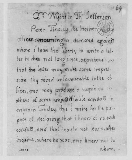 George Wythe to Thomas Jefferson, July 31, 1801