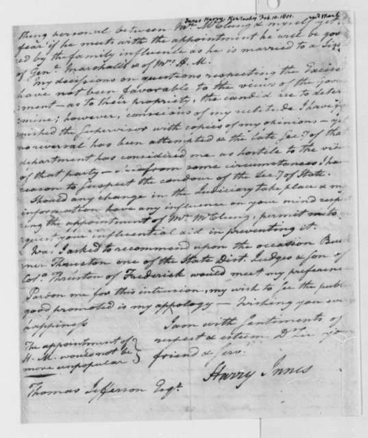Harry Innes to Thomas Jefferson, February 10, 1801