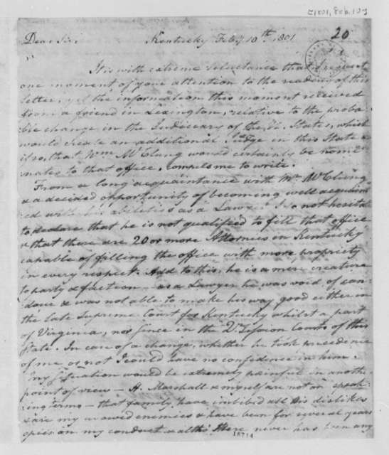 Harry Innes to Thomas Jefferson, February 10, 1801