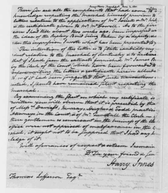 Harry Innes to Thomas Jefferson, June 3, 1801