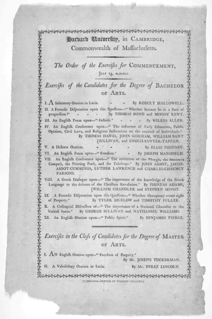 Harvard University, in Cambridge. Commonwealth of Massachusetts. The order of the exercises for the commencement. July 15, M,DCCCI. ... Cambridge -Printed by William Hillard [1801].
