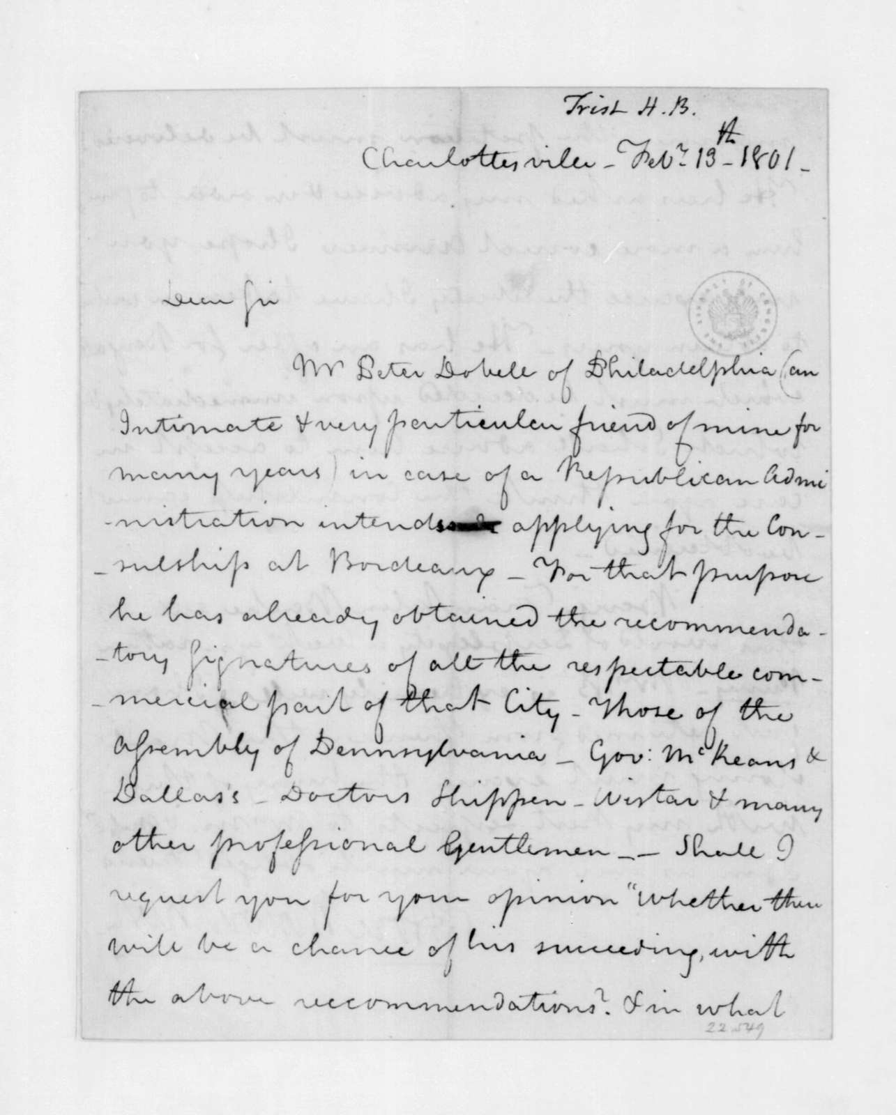 Hore Browse Trist to James Madison, February 13, 1801.