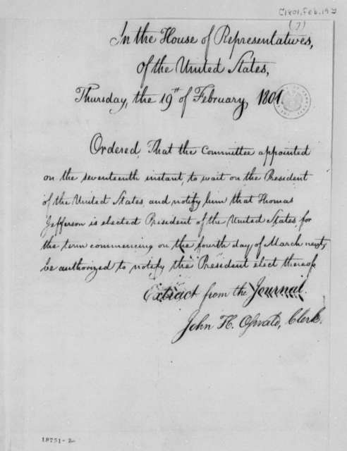 House of Representatives, February 19, 1801, Order from Journal