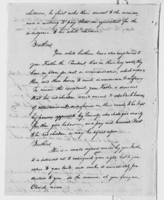 Indian Affairs Commissioners to Chiefs of the Cherokees, September 4, 1801, Extract, Chief Double Head's Reply, and Thomas Jefferson Note