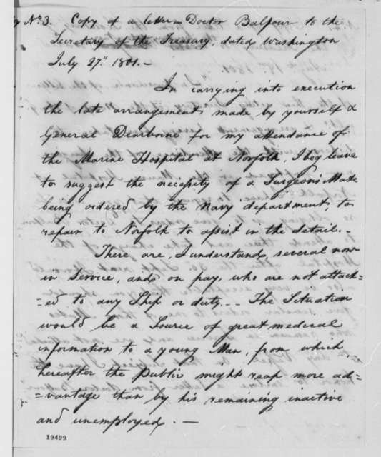 James Balfour to Robert Smith, July 27, 1801, Extract