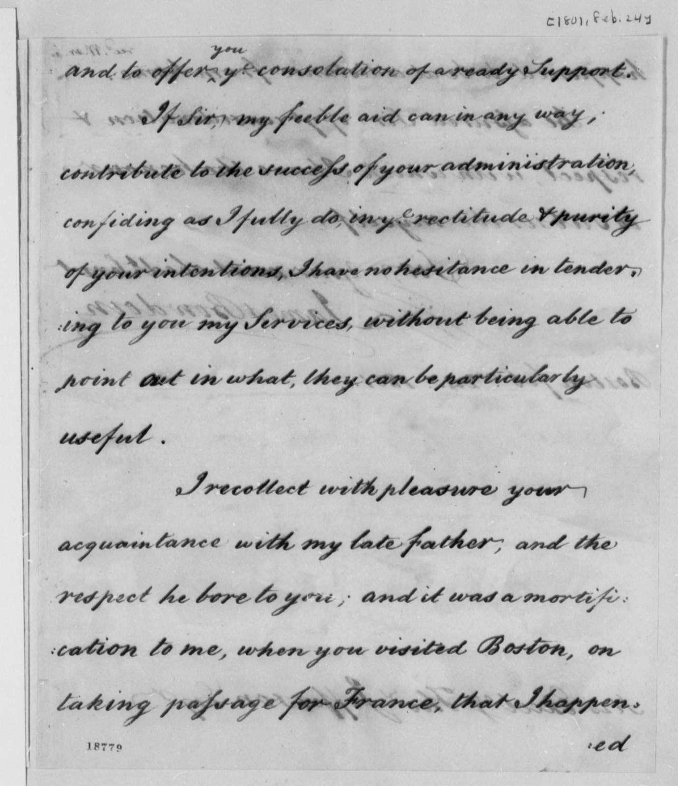 James Bowdoin to Thomas Jefferson, February 24, 1801