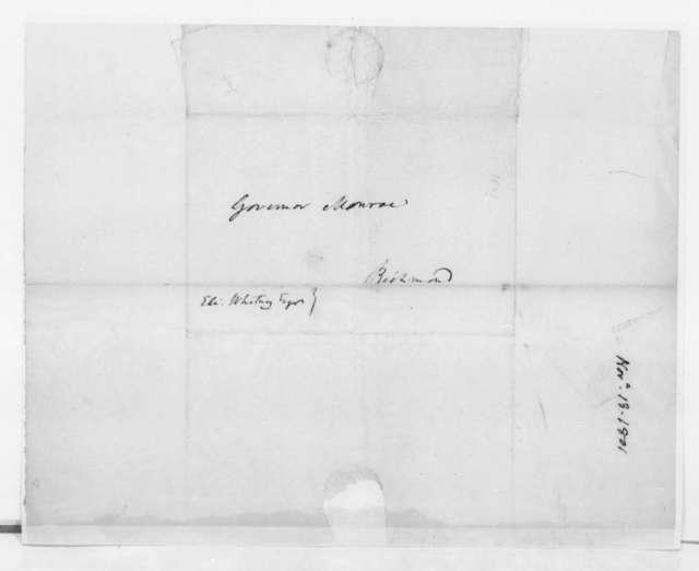 James Madison to James Monroe, November 13, 1801. Letter regarding Eli Whitney.