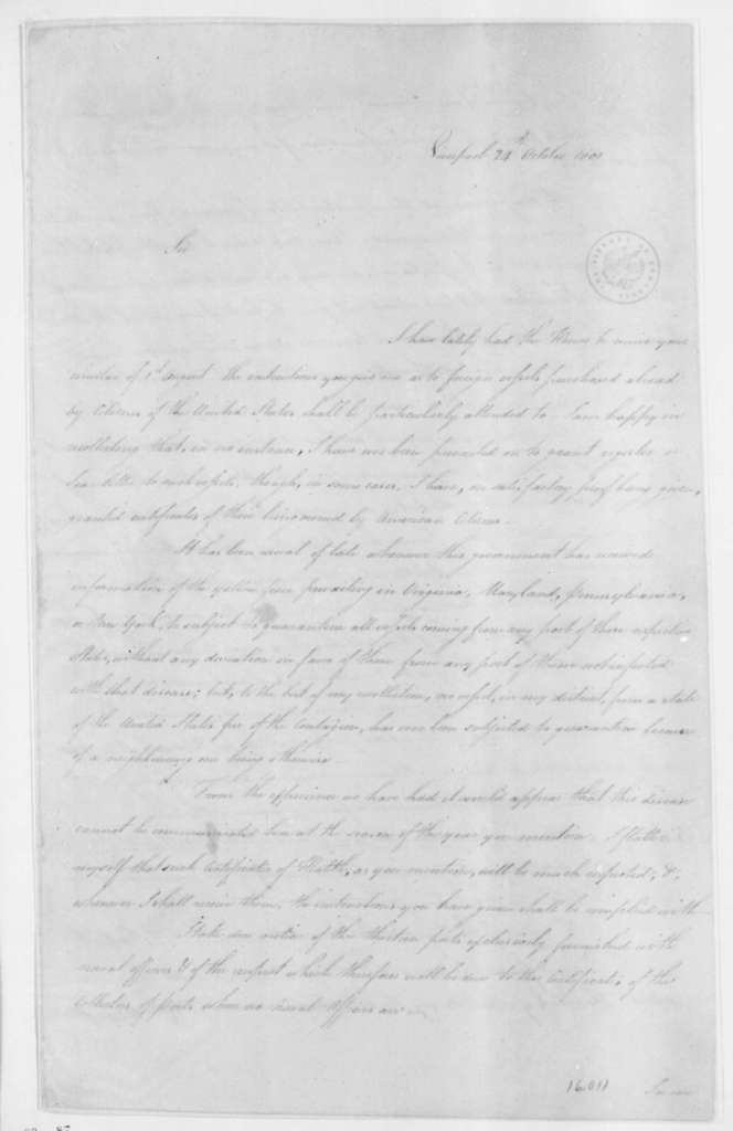 James Maury to James Madison, October 24, 1801. With Copy.