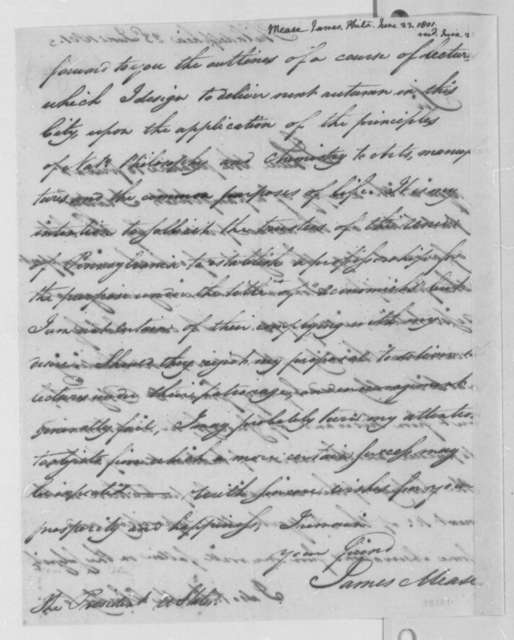 James Mease to Thomas Jefferson, June 23, 1801