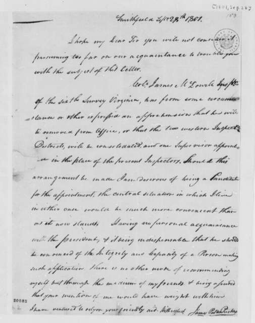 James P. Preston to Meriwether Lewis, September 28, 1801