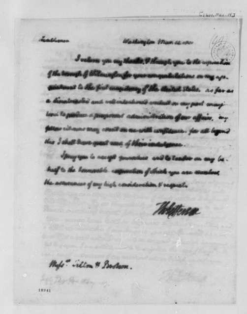Jefferson Thomas to Nehemiah Tilton and James Brobson, March 14, 1801