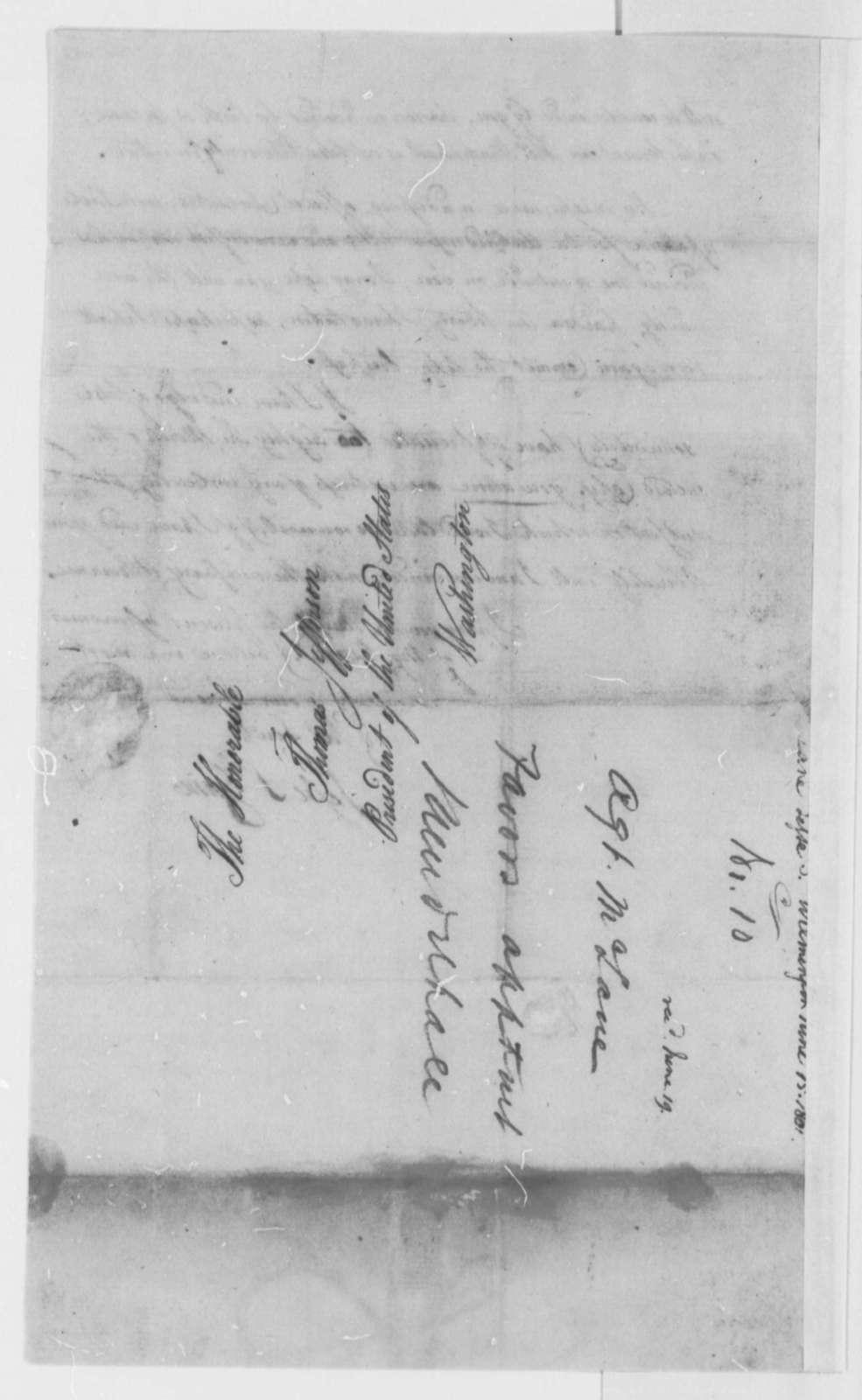 Jesse S. Zane to Thomas Jefferson, June 15, 1801