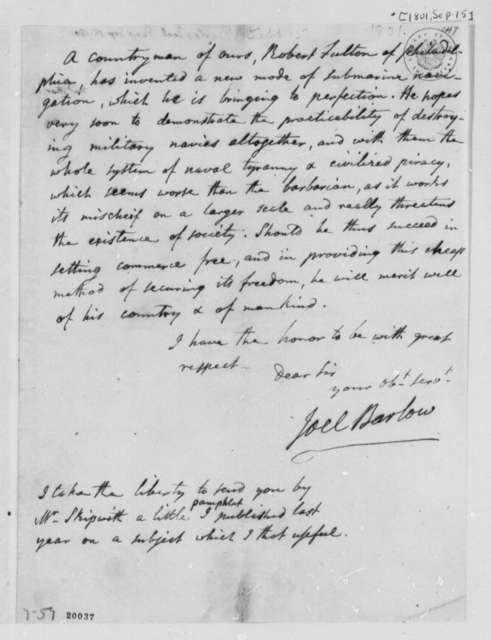 Joel Barlow to Thomas Jefferson, September 15, 1801