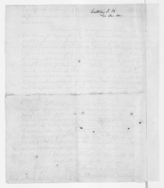 John Browne Cutting to James Madison, December 10, 1801.