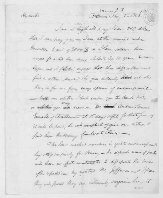 John Francis Mercer to James Madison, January 5, 1801.