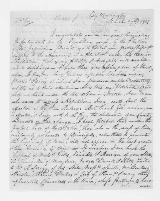 John Knapp to James Madison, March 29, 1801.