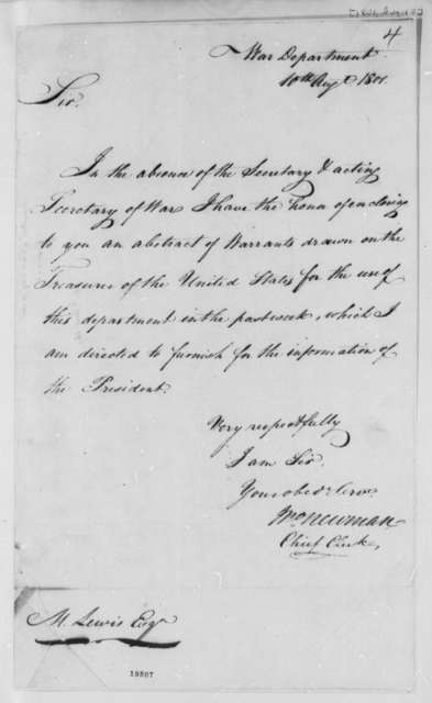 John Newman to Meriwether Lewis, August 10, 1801