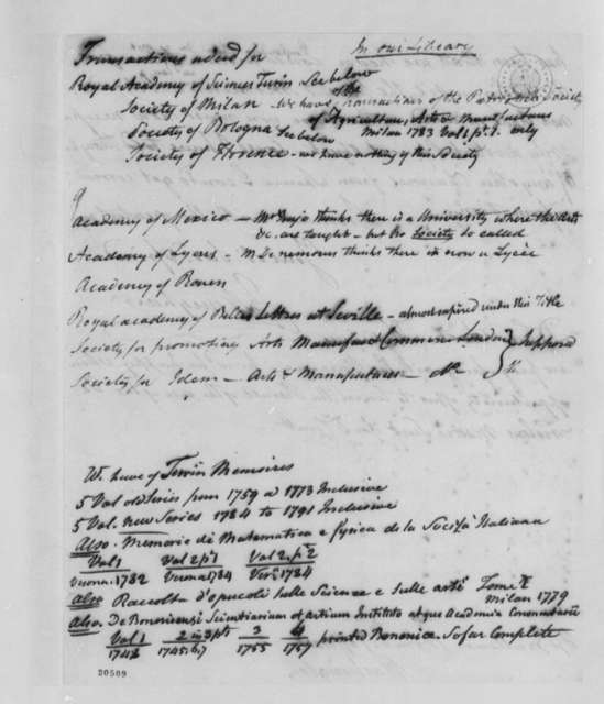 John Vaughan to Thomas Jefferson, December 29, 1801, and List