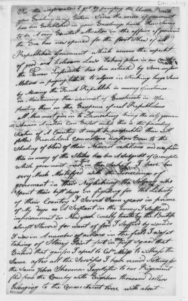 Johnson Cook to Thomas Jefferson, October 17, 1801