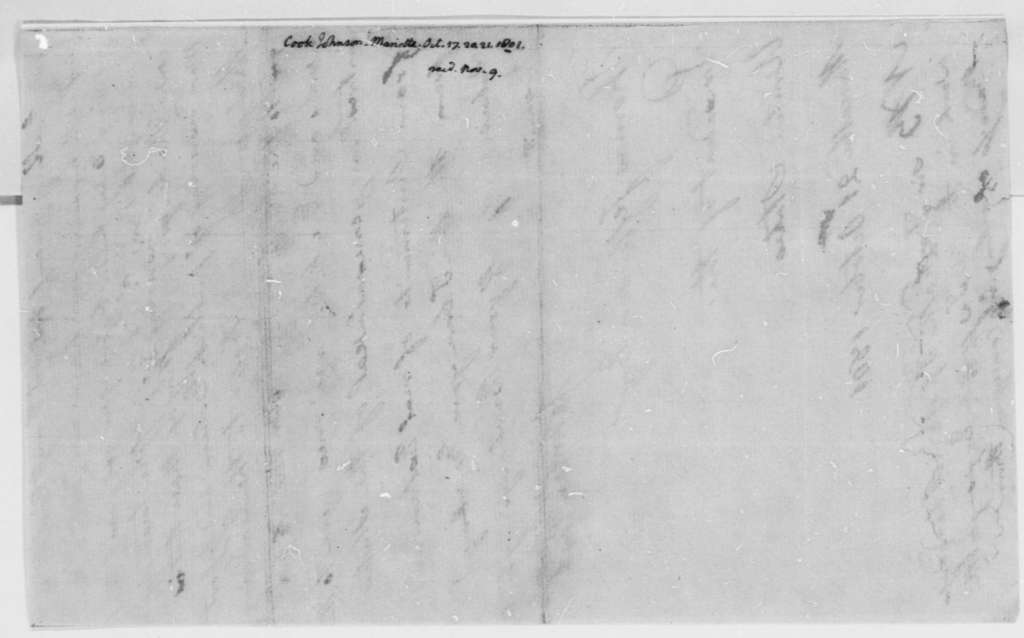 Johnson Cook to Thomas Jefferson, October 21, 1801