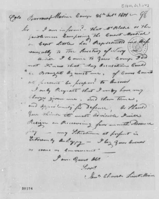 Jonathan Church to W. W. Burrows, October 24, 1801, Enclosure