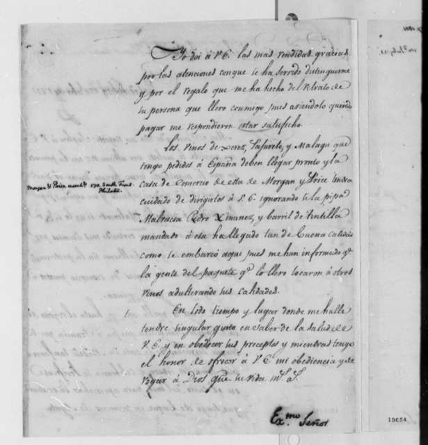 Josef Yznardi to Thomas Jefferson, July 17, 1801, in Spanish